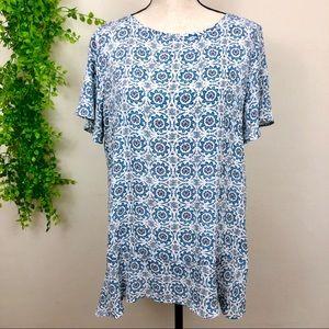 LOFT Wrap Back Blue Geometric Print on White Shirt